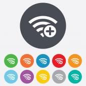 Wifi plus sign. Add Wi-fi symbol. Wireless. — Stock Vector
