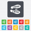 Постер, плакат: Step by step sign icon Footprint shoes symbol