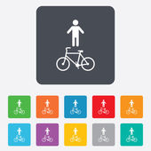 Bicycle and pedestrian trail icon. Cycle path. — Stock Vector