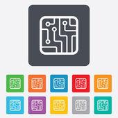 Circuit board sign icon. Technology symbol. — Vector de stock