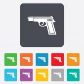 Gun sign icon. Firearms weapon symbol. — Stock Vector
