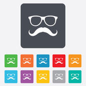Mustache and Glasses sign icon. Hipster symbol. — Stock Vector