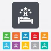 Five star Hotel sign icon. Rest place. — Stock Vector