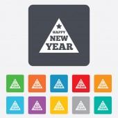 Happy new year sign icon. Christmas tree. — Vector de stock