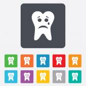 Tooth sad face with tear sign icon. Aching tooth — Stock Vector
