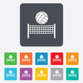 Volleyball net ball icon. Beach sport symbol — Wektor stockowy