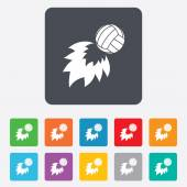 Volleyball fireball icon. Beach sport symbol. — Stock Vector