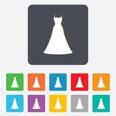 Wedding dress sign icon. Elegant bride symbol. — Stock Vector