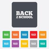 Zurück zu schule-schild-symbol. zurück 2 school symbol. — Stockvektor
