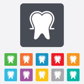 Tooth enamel protection sign icon. Dental care symbol. — Stock Vector