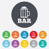 Bar or Pub sign icon. Glass of beer symbol. — Stock Vector
