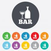 Bar or Pub sign icon. Wine bottle and Glass. — Stock Vector
