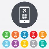 Boarding pass flight sign icon. Airport ticket. — Stock Vector
