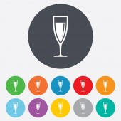Glass of champagne sign icon. Alcohol drink. — Stockvector