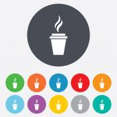 Coffee glass sign icon. Hot coffee button. — Vecteur