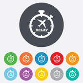 Delayed flight sign icon. Airport delay symbol. — Stock Vector