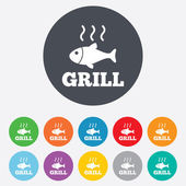 Fish grill hot icon. Cook or fry fish symbol. — Stock Vector