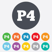 Parking fourth floor icon. Car parking P4 symbol — ストックベクタ