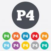 Parking fourth floor icon. Car parking P4 symbol — Vecteur