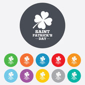 Clover with four leaves sign. St. Patrick symbol — Stock Vector