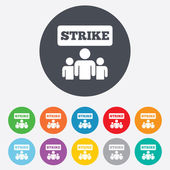 Strike sign icon. Group of people symbol. — Vettoriale Stock