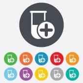 Medizinische reagenzglas zeichen symbol. laborgeräte. — Stockvektor