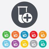 Medical test tube sign icon. Lab equipment. — ストックベクタ