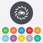 Traktor-schild-symbol. landwirtschaftliche industrie-symbol. — Stockvektor