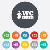 WC women toilet sign icon. Restroom symbol. — Stock Vector
