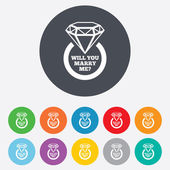 Marry me ring sign icon. Engagement symbol. — Stock Vector