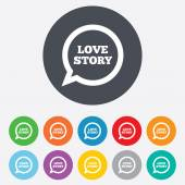 Love story speech bubble sign icon. Engagement symbol. — Stock Vector
