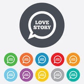 Love story speech bubble sign icon. Engagement symbol. — Vector de stock