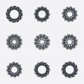 Circle geometric ornaments. Spirographs set. — Stok Vektör