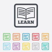 Learn Book sign icon. Education symbol. — Stock Vector