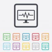 Monitoramento cardiograma ícone do sinal. batimentos cardíacos. — Vetorial Stock