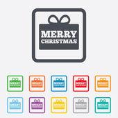 веселый рождественский подарок знак значок. настоящий символ. — Cтоковый вектор