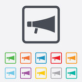 Megaphone soon icon. Loudspeaker symbol. — Stock Vector