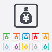 Money bag sign icon. Yen JPY currency. — Stock Vector