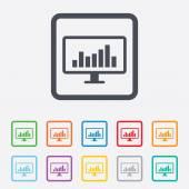 Computer monitor sign icon. Market monitoring. — Stock Vector