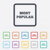 Most popular sign icon. Bestseller symbol. — Vector de stock