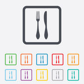 Eat sign icon. Cutlery symbol. Knife and fork. — Vetorial Stock