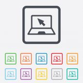 Laptop sign icon. Notebook pc with cursor symbol — Vetorial Stock