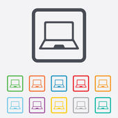 Laptop sign icon. Notebook pc symbol. — ストックベクタ
