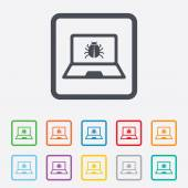 Laptop virus sign icon. Notebook software bug. — ストックベクタ