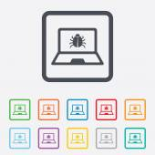 Laptop virus sign icon. Notebook software bug. — Vetorial Stock