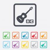 Acoustic guitar sign icon. Paid music symbol. — Stock Vector