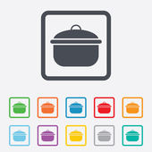 Cooking pan sign icon. Boil or stew food symbol. — Stock Vector