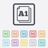 Paper size A1 standard icon. Document symbol. — Stockvector