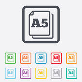 Paper size A5 standard icon. Document symbol. — Stockvector