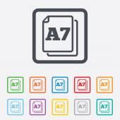 Papier grootte a7 standaard pictogram. document symbool. — Stockvector
